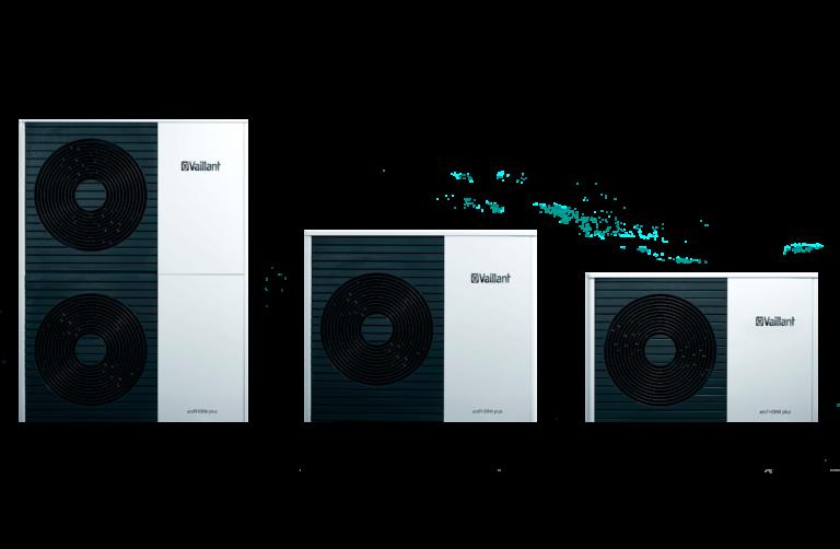 De drie verschillende modellen van Vaillant AroTherm split warmtepompen naast elkaar opgesteld
