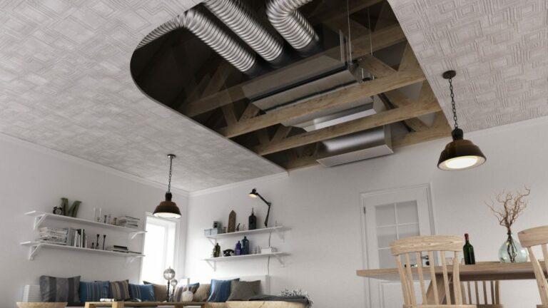 LG Airco kanaalmodel unit in vals plafond met aanzuigrooster en luchtkanalen voor lucht uitblaas