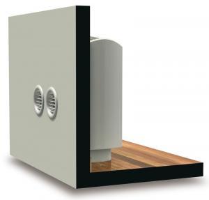Voorstelling vaste airco unit zonder buitengroep met ventilatie openingen in de buitenmuur