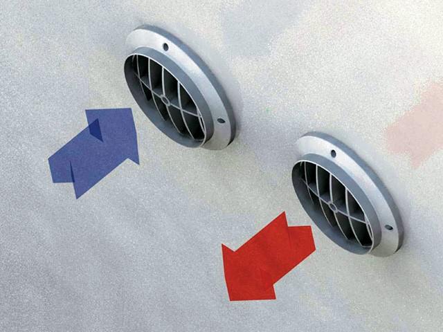 Ventilatie openingen met roosters in de buitenmuur voor de in en uitlaat van de lucht voor een monobloc airco toestel zonder buitenunit