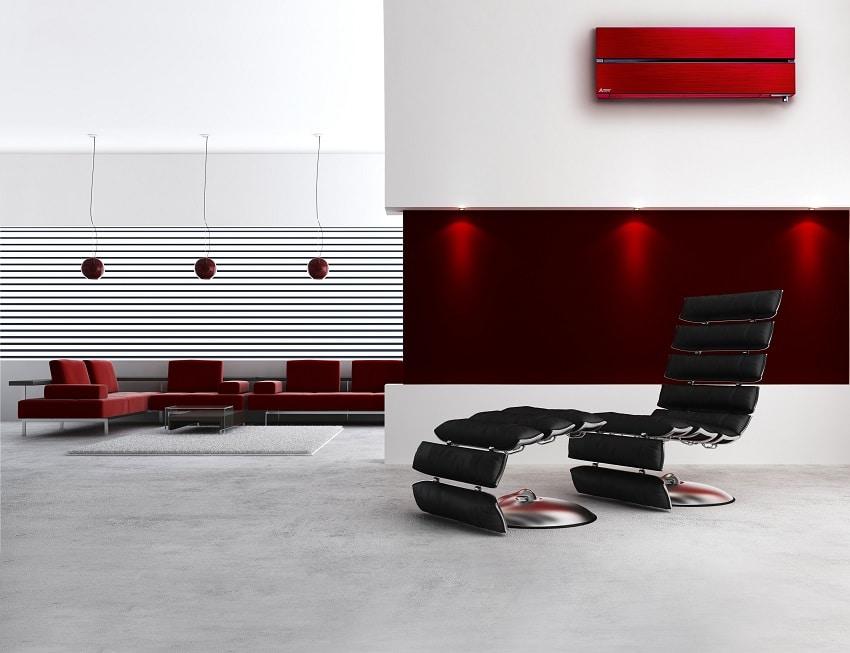 Mitsubishi msz wandmodel diamond in rood wand in moderne leefruimte