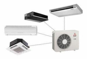 Mitsubishi airco buitenunit met de verschillende mogelijkheden van binnentoestellen zoals cassette, wandmodel, kanaalunit & plafondmodel