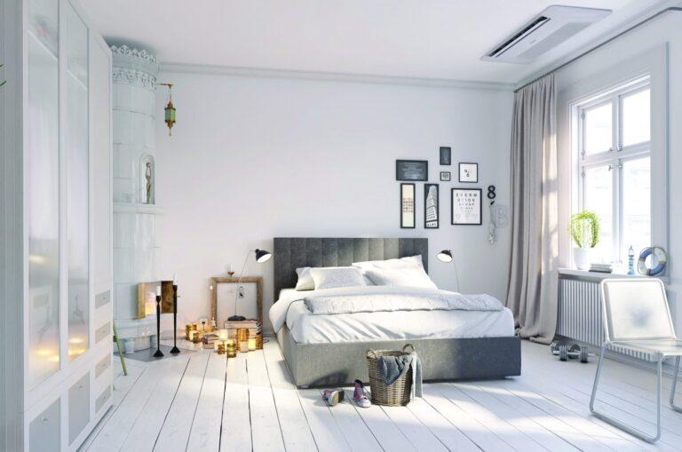 Airco 1 weg cassette in slaapkamer aan plafond boven bed