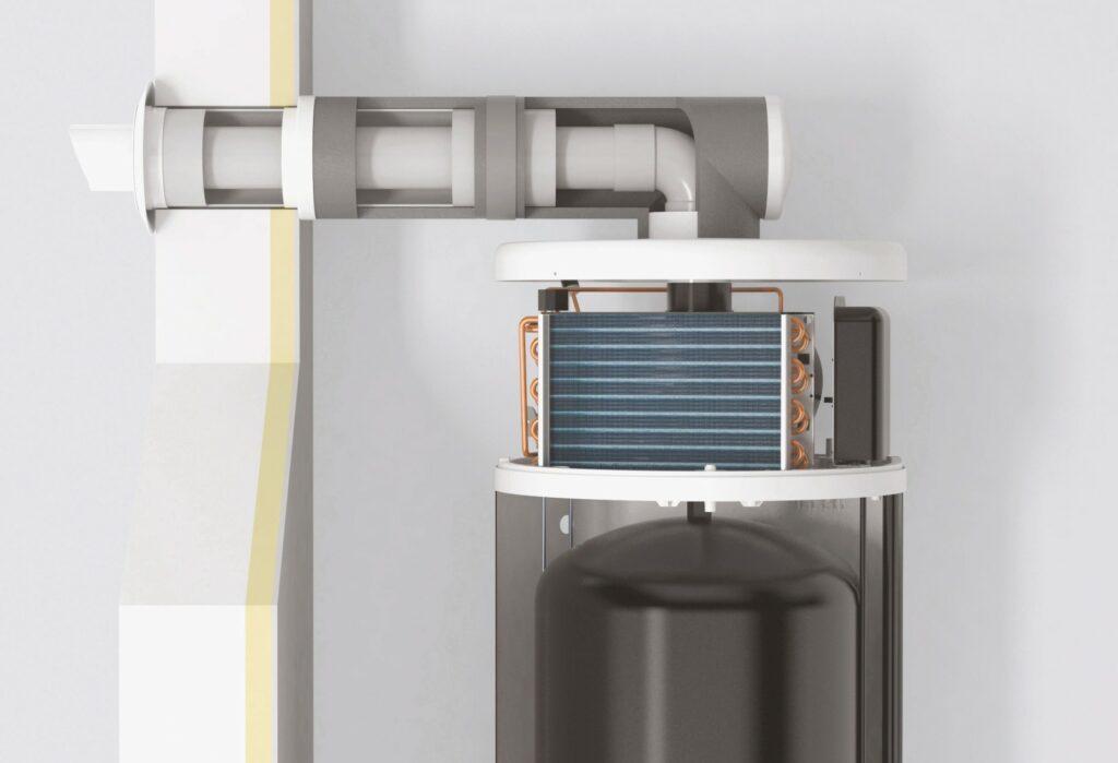 Warmtepompboiler met uitblaas naar buiten via gevel